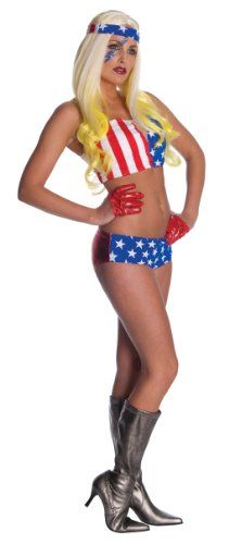 Handtaschen Damen Schwarz - Lady Gaga American Flag Outfit,Red/White/Blue,X-Small Costume by Rubie& Cos. Costumes Sexy Halloween, Patriotic Costumes, Adult Costumes, Funny Halloween, Halloween Ideas, Halloween Party, Celebrity Wigs, Celebrity Costumes, Celebrity Outfits