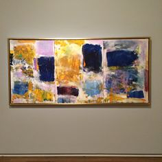 """American abstract expressionist painter Joan Mitchell moved to Manhattan in 1947 to study at Hans Hofmann's school. Many painters aspired to work with the famous teacher Hans Hofmann. Mitchell only attended one of his classes: """"I couldn't understand a word he said so I left, terrified."""" She is one of the few female painters to gain critical acclaim for her abstract expressionist work. """"Untitled (View of the Seine from Vétheuil) is on view at the Montreal Museum of Fine Arts."""