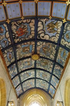 Painted ceiling in church in Langport, England..