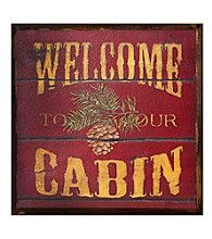 "Cabin Wall Art ruff hewn ""cabin rules"" wood wall art 