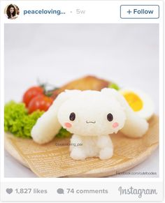 Kawaii #Cinnamoroll rice meal *\(^o^)/* by Thai food artist Nawaporn Pax Piewpun, better known as PeaceLoving_Pax
