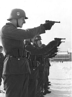 "5th SS Panzer Division -Waffen SS soldiers shooting German P08 ""LUGER PISTOL"""
