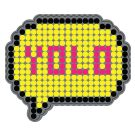 """Velcro-backed patch - Rubber Speech Bubble """"YOLO"""" (You Only Live Once) in rubber"""