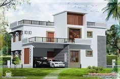 Contemporary flat roof houseGround Floor : 1300 sq.ft  1 bed room with attached toilet Sitting room Dining room Prayer room Kitchen Work area First Floor : 1043 sq.ft  2 bed room with toilet attached Home theatre Upper living Front open terrace