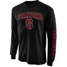 New Agenda Stanford Cardinal Black Distressed Arch & Logo Long Sleeve T-Shirt - FansEdge.com