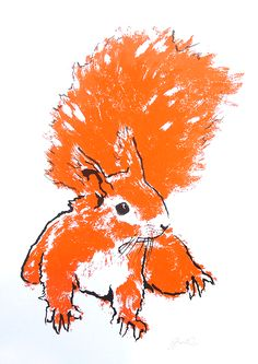 Orange Squirrel hand pulled screen print available from Printclub London www.printclublondon.com/shop/orange-squirrel/