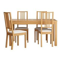 IKEA BJURSTA/BÖRJE Table and 4 chairs Oak veneer/gobo white 140 cm Extendable dining table with 2 extra leaves seats makes it possible to adjust the. Ikea Dining Table Set, Dining Table In Living Room, Small Living Room Chairs, Extendable Dining Table, Living Room Kitchen, Table And Chairs, Dining Sets, Bjursta Table, Small Kitchen Set