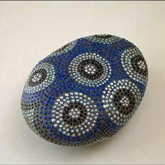 Hand Painted Rock of Blue Skies and Dandelions Motif Dot. $30.00, via Etsy.