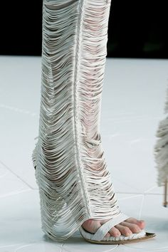 Roberto Cavalli - White leather horizontal fringe pants <3 I want SOSOSOSOSO badly