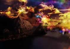 manipulation cg digital art artistic fantasy surreal landscapes mountains lakes water rivers bay reflection sci fi science fiction dream sky clouds color psychedelic space stars nebula storm lightning fire flames architecture buildings tower bright trees wallpaper