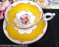 COALPORT TEA CUP AND SAUCER YELLOW & FLORAL PATTERN TEACUP WIDE MOUTH