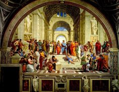 The School of Athens (or Scuola di Atene in Italian) was one of Raphael's commissions in the Stanze di Raffaello in the Vatican. The School of Athens is considered Raphael's master artwork and is considered the perfect example of High Renaissance art. Die Renaissance, Renaissance Kunst, Renaissance Artists, Renaissance Paintings, Renaissance Humanism, Italian Renaissance Art, Popular Paintings, Most Famous Paintings, Famous Artists