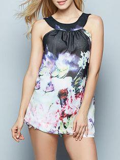 #BFCM #CyberMonday #Fashionmia - #Fashionmia Floral Printed Round Neck Sleeveless-t-shirts - AdoreWe.com