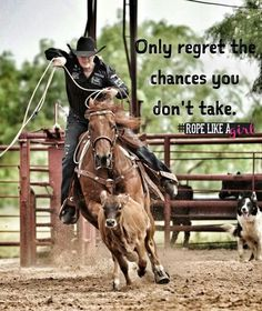 Only regret the chances you don't take. Rodeo Quotes, Equine Quotes, Cowboy Quotes, Cowgirl Quote, Equestrian Quotes, Cowgirl And Horse, Western Quotes, Horse Sayings, Barrel Racing Quotes