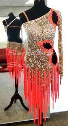 Ballroom Cha Cha Ramba Latin Samba Dance Dress US 8 UK 10 Skin Orange Fringing | eBay