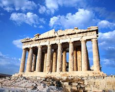 The Parthenon is located in Athens, Greece and sits on top of the Acropolis. It represents Greek art through architecture. Columns were very popular in ancient greece.