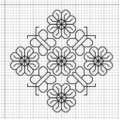 Blackwork Embroidery: Small ButterfliesFlowers Motif Pattern