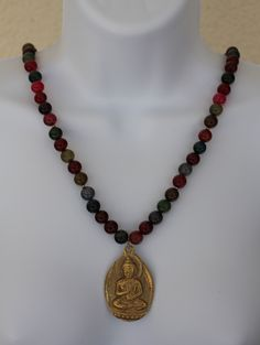 Buy Me on URCRafti.com! Multi Colored Agate with Brass Buddha Pendant by Shannon At least Pin Me so everyone can see!