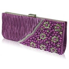 Exquisite Purple Beads, Pearls & Crystal Floral Clutch Bag