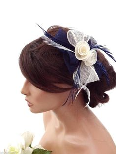 Elegant Cream and Navy Fascinator Hair Clip Mesh Bow Design with Feathers