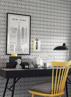 Brewster Home Fashions Wall Vision x Jai Tribal Geometric Wallpaper Wallpaper Samples, Home Wallpaper, Modern Retro, All Modern, Modern Interior, Interior Design, Black And White Wallpaper, Contemporary Wallpaper, Geometric Wallpaper