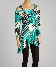 Look at this #zulilyfind! Teal & Black Dot Stripe Cutout Top - Women & Plus by Come N See #zulilyfinds