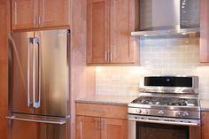 #FrenchDoor #Refrigerator, #Gas #Range and #Electrolux #hood Traditional Kitchen, Home Renovation, French Doors, Backsplash, Kitchen Cabinets, Refrigerator, Kitchen Ideas, Kitchens, Range