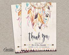 Boho Dream Catcher Wedding Or Bridal Shower Thank You Card | DIY Printable Bohemian Tribal Watercolor Dreamcatcher Thank You Cards by iDesignStationery on Etsy