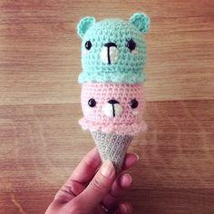 Adorable glace oursons  - Kawaii bears ice cream :  free amigurumi pattern / modèle crochet gratuit et tuto (US/FR)