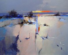 Peter Wileman, 'At the End of the Day, Winter Snow' - oil on board #abstractart
