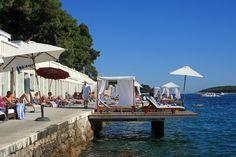 Bonj 'les bains' beach club, Hvar, Croatia. http://www.alifelessbeige.com/article/relaxing-at-bonj-les-bains-beach-clubb-hvar/ #Hvar #Croatia #Bonjlesbains #beachclub #travel #holiday #luxurytravel