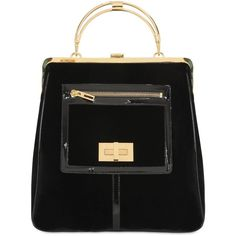 BALMAIN The Day Velvet & Metal Tote Bag ($3,510) ❤ liked on Polyvore featuring bags, handbags, tote bags, purses, black, velvet handbag, top handle handbags, top handle purses, black handbags and balmain handbags