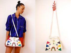 Vtg 80's Jeweled Colorful Leather Crossbody Bag  http://www.etsy.com/shop/LuluTresors
