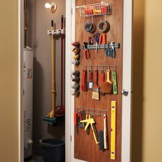 12 Simple Storage Solutions - Article: The Family Handyman ~ Love this door idea to the utility closet! Cabinet Door Storage, Diy Storage Shelves, Tool Storage, Garage Storage, Storage Spaces, Storage Ideas, Closet Storage, Storage Systems, Closet Bench