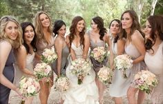 Love the idea of different bridesmaids dresses, but still in the same color scheme.