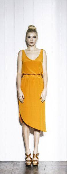 Orange Silk Skirt With Angled Hemline