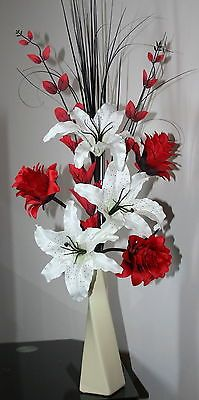 Artificial silk flower arrangement red black white flowers in silver artificial silk flower arrangement red cream lily dragon flowers in ceramic mightylinksfo