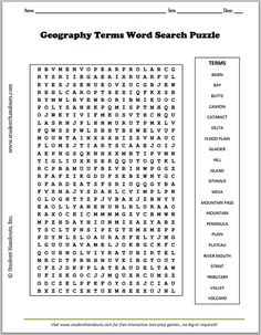 Geography Terms Word Search Puzzle