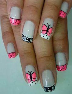 Imágenes de decoracion de uñas con mariposas Green Nail Designs, Toe Nail Designs, Shellac Nails, Pedicure Nails, Cute Nail Art, Beautiful Nail Art, Hot Nails, Hair And Nails, Magic Nails