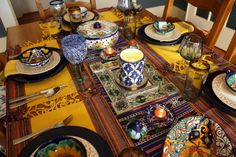 Life with the Mozas: Viva Fiesta Tablescape! Love Blue, Blue And White, Tablescapes, Table Settings, Mexican, Candles, Dinner, Party, Life
