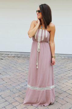 Lacey Mocha Strapless Dress
