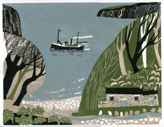 The Marine Walk - linocut print by Melvyn Evans