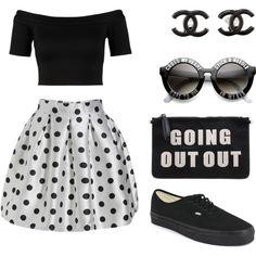 Black n' white by bibkaro on Polyvore featuring polyvore fashion style Miss Selfridge Vans Chanel