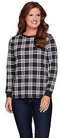 Denim & Co. As Is Plaid Printed Crew Neck Top with Zipper Detail