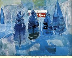 Edvard Munch. Red House and Spruces. Olga's Gallery.