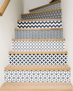 From grey solid stripes to colorful ornate patterns, discover the top 70 best painted stairs ideas. Tiled Staircase, Painted Staircases, Painted Stairs, Staircase Design, Staircase Banister Ideas, House Staircase, Staircase Makeover, Redo Stairs, Diy Home Decor