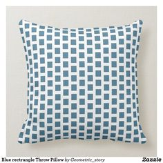 Blue rectrangle Throw Pillow #pillow #throw #homedecor #home #interiordesign #interiors #interiorstyling #pillows #bedroom #bedroomdecor #square #zazzle #zazzlemade #zazzlecom #zazzlestore #pattern #blue #white