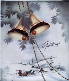 Vintage Christmas Card: Sleighing Scene with Bells and Foil Insert