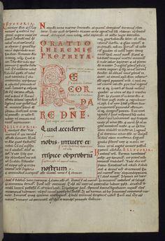 Illuminated Manuscript Gloss on The lamentations of Jeremiah Initial R with a dragon Walters Manuscript W.30 fol. 48r by Walters Art Museum Illuminated Manuscripts