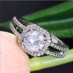 """Sterling Silver CZ Halo Engagement Ring Stunning Halo CZ Engagement Ring at a fraction of cost. """"Brand New"""" Jewelry Rings"""